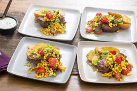 Seared Steaks & Roasted Potatoes with Corn, Tomatoes & Herbed Crème Fraîche