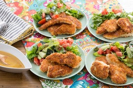 Crispy Chicken Tenders with Honey Mustard & Tomato-Cucumber Salad
