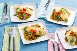 Seared Catfish & Fregola Sarda with Cherry Tomatoes, Bell Pepper & Rainbow Chard