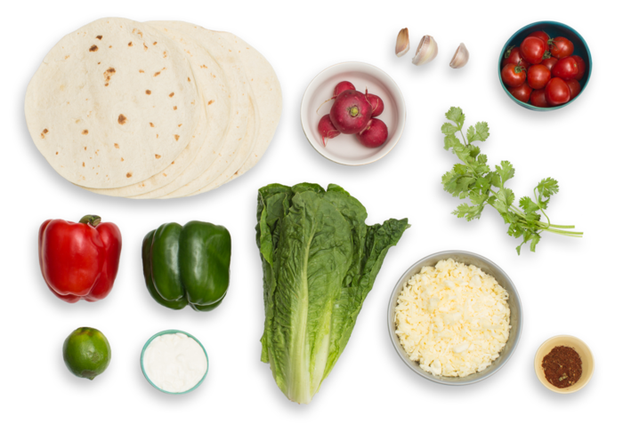 Monterey Jack & Bell Pepper Quesadillas  with Chopped Salad & Lime-Crema Dressing ingredients
