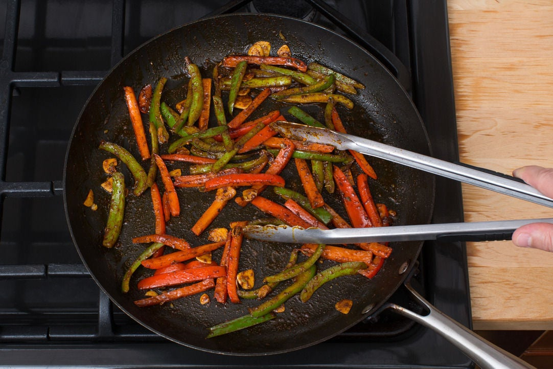 Cook the bell peppers: