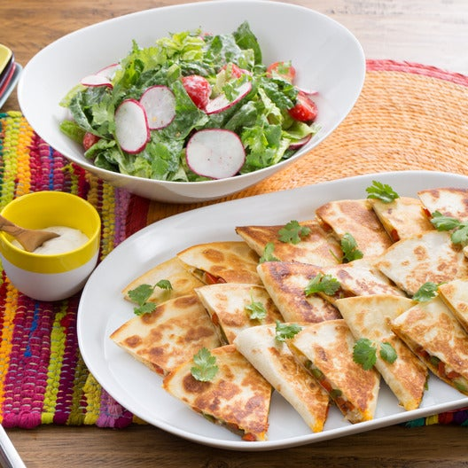 Monterey Jack & Bell Pepper Quesadillas  with Chopped Salad & Lime-Crema Dressing