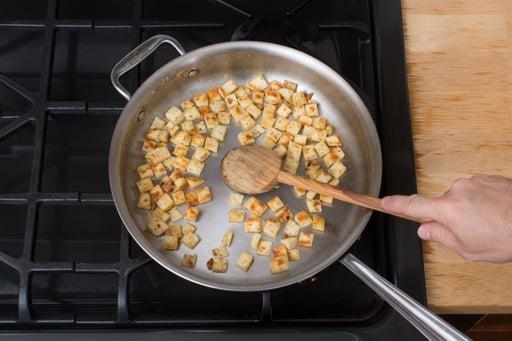 Make the pita croutons: