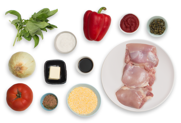 Southern-Style Chicken Cacciatore with Creamy Grits & Basil ingredients