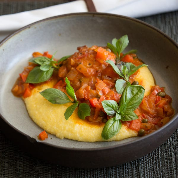 Southern-Style Chicken Cacciatore with Creamy Grits & Basil