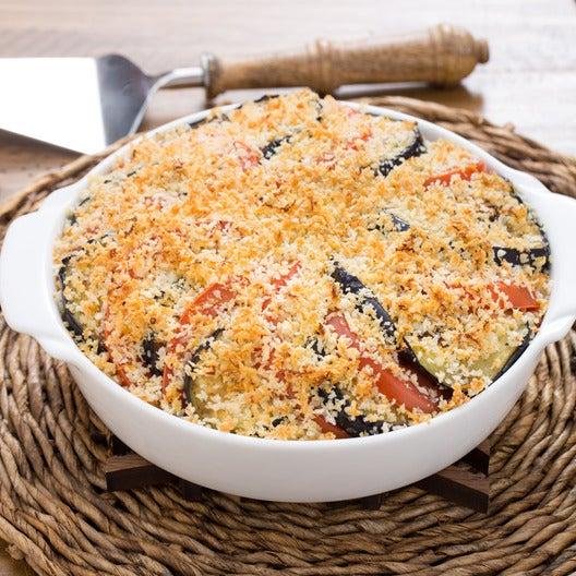 Spiced Eggplant & Tomato Bake with Fregola Sarda & Mozzarella Cheese