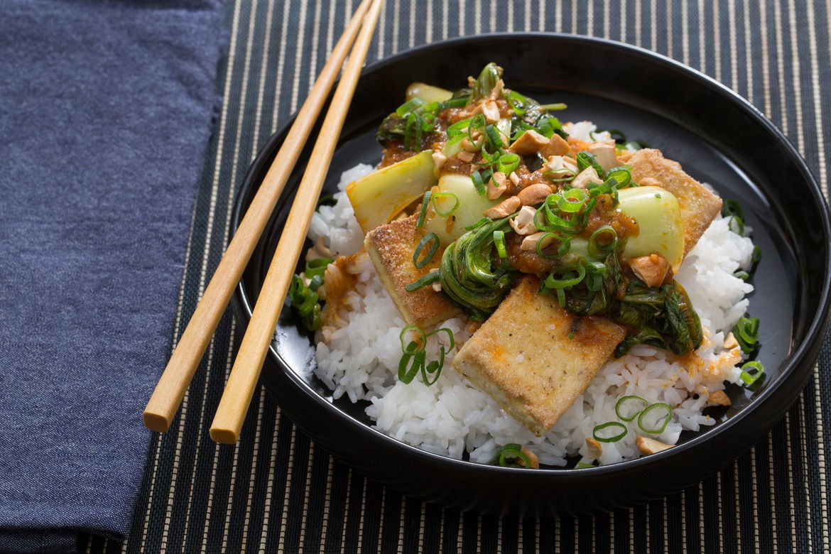 Crispy Tofu & Bok Choy Red Curry with Jasmine Rice, Thai Basil & Cashews