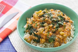 Louisiana-Style Red Lentils with Brown Rice