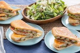 Pressed Chicken Tortas with Romaine Salad, Queso Fresco & Cilantro
