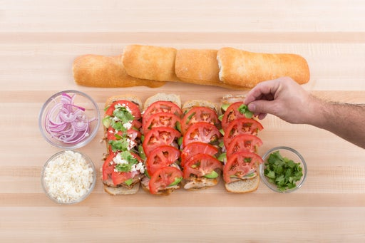 Assemble the tortas: