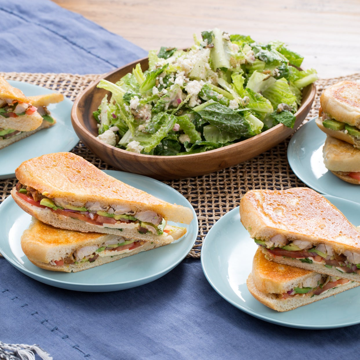 Pressed Chicken Tortas with Romaine Salad, Queso Fresco & Cilantro