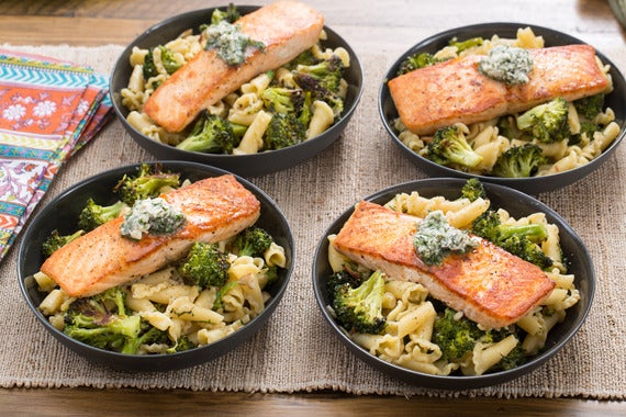 Recipe Seared Salmon Campanelle Pasta With Roasted Broccoli Lemon Herb Butter Blue A