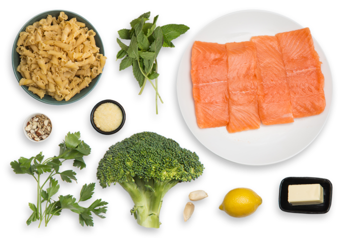 Seared Salmon & Campanelle Pasta with Roasted Broccoli & Lemon-Herb Butter