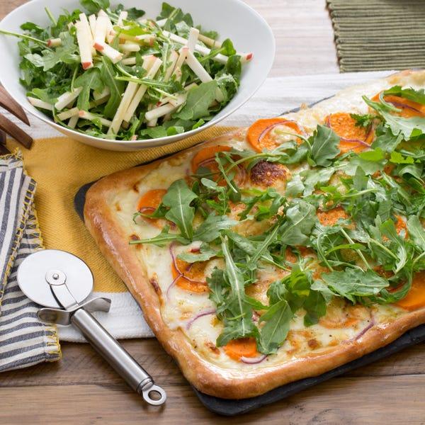 Sweet Potato & Fontina Pizza with Apple, Celeriac & Arugula Salad