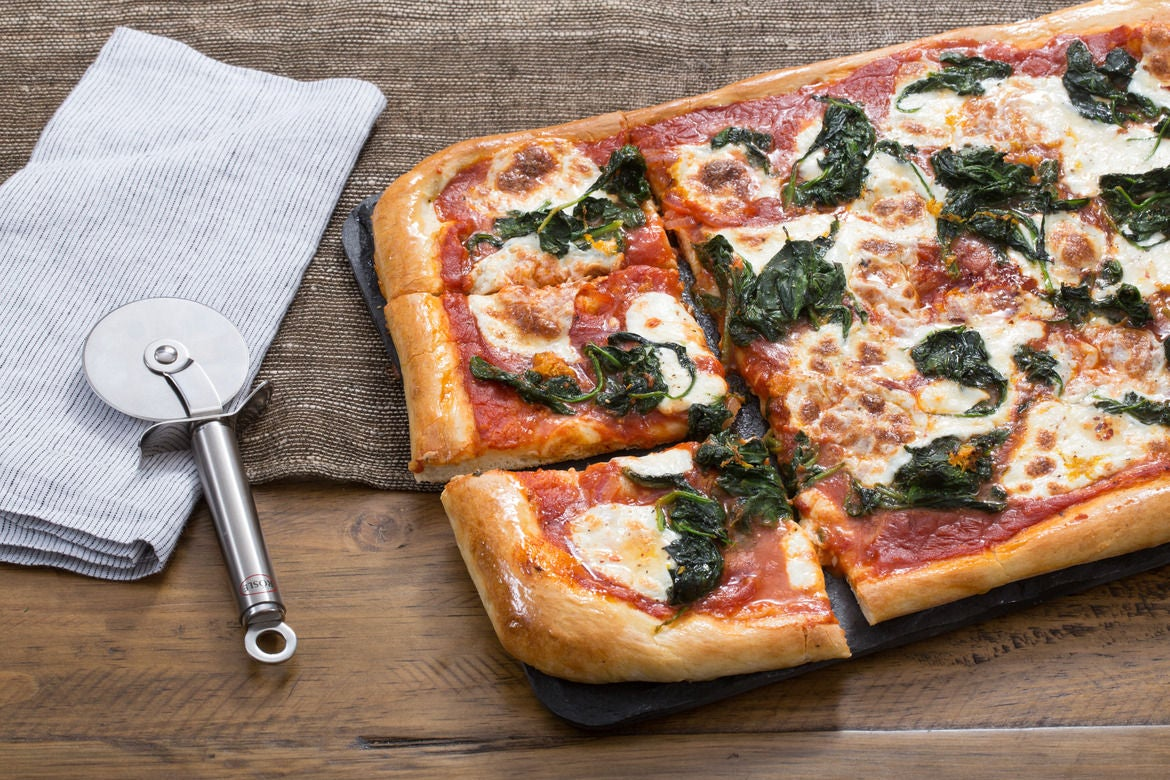 Spinach & Fresh Mozzarella Pizza with Lemon & Chile Honey
