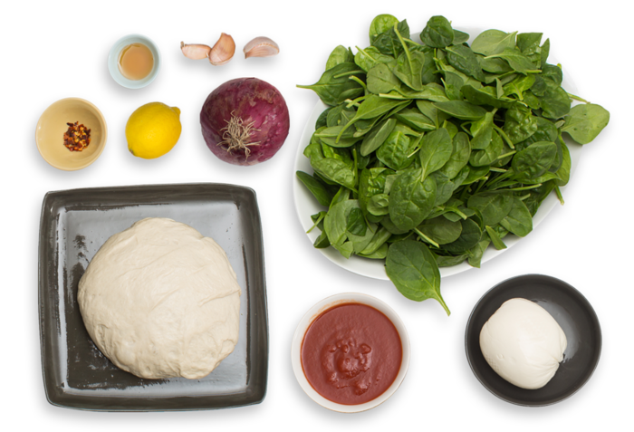 Spinach & Fresh Mozzarella Pizza with Lemon & Chile Honey ingredients
