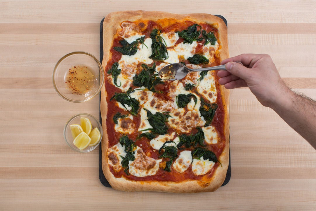 Lemon Ricotta Pizza With Herbs And Honey Recipe — Dishmaps