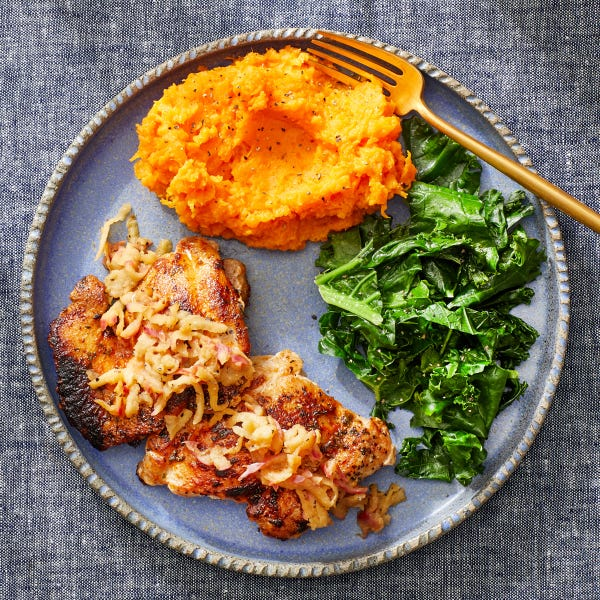 Seared Chicken Thighs &  Glazed Apple with Cheesy Mashed Sweet Potatoes