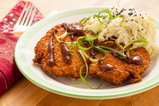 Pork Tonkatsu with Miso Green Cabbage & Brown Rice