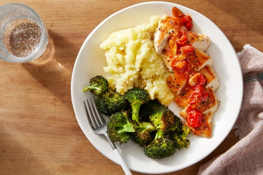 Seared Chicken & Brown Butter-Tomato Sauce with Goat Cheese Mashed Potatoes