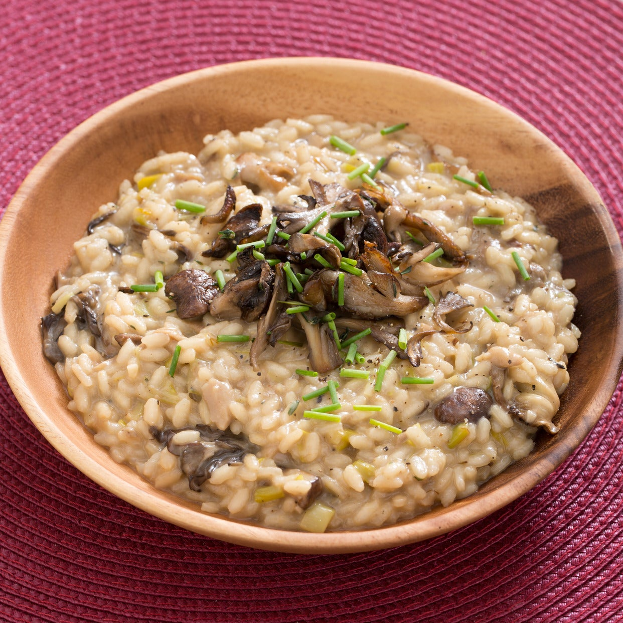 Mixed Mushroom Risotto with Porcini Broth, Leek & Chives