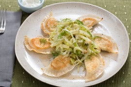 Crispy Ricotta Pierogi with Warm Apple-Cabbage Salad & Browned Butter