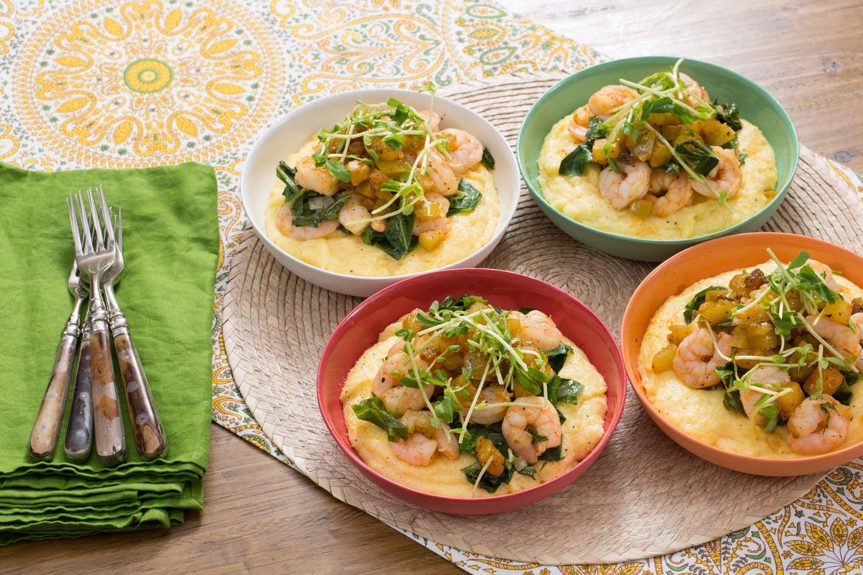 Blue apron yellow grits - Cajun Shrimp Cheesy Grits With Collard Greens Green Tomato Chutney