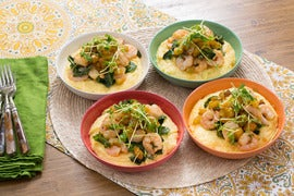 Cajun Shrimp & Cheesy Grits  with Collard Greens & Green Tomato Chutney