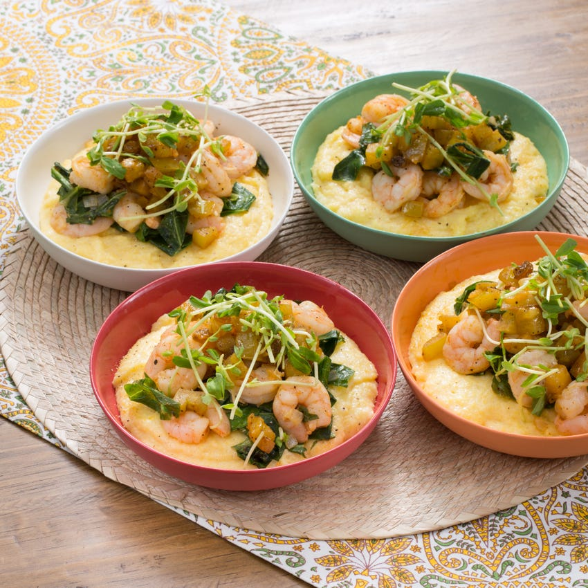 Cajun Shrimp & Cheesy Grits with Collard Greens & Green Tomato Chutney