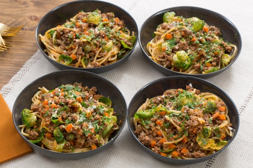Spaghetti Bolognese with Brussels Sprouts & Rosemary