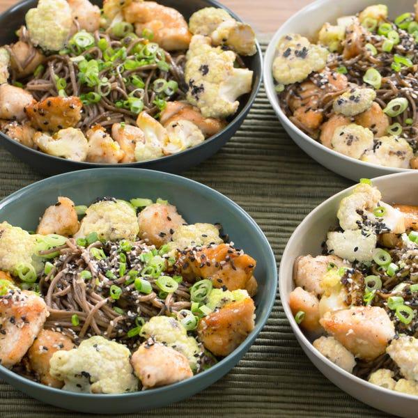 Sesame Chicken Stir-Fry with Soba Noodles & Cauliflower