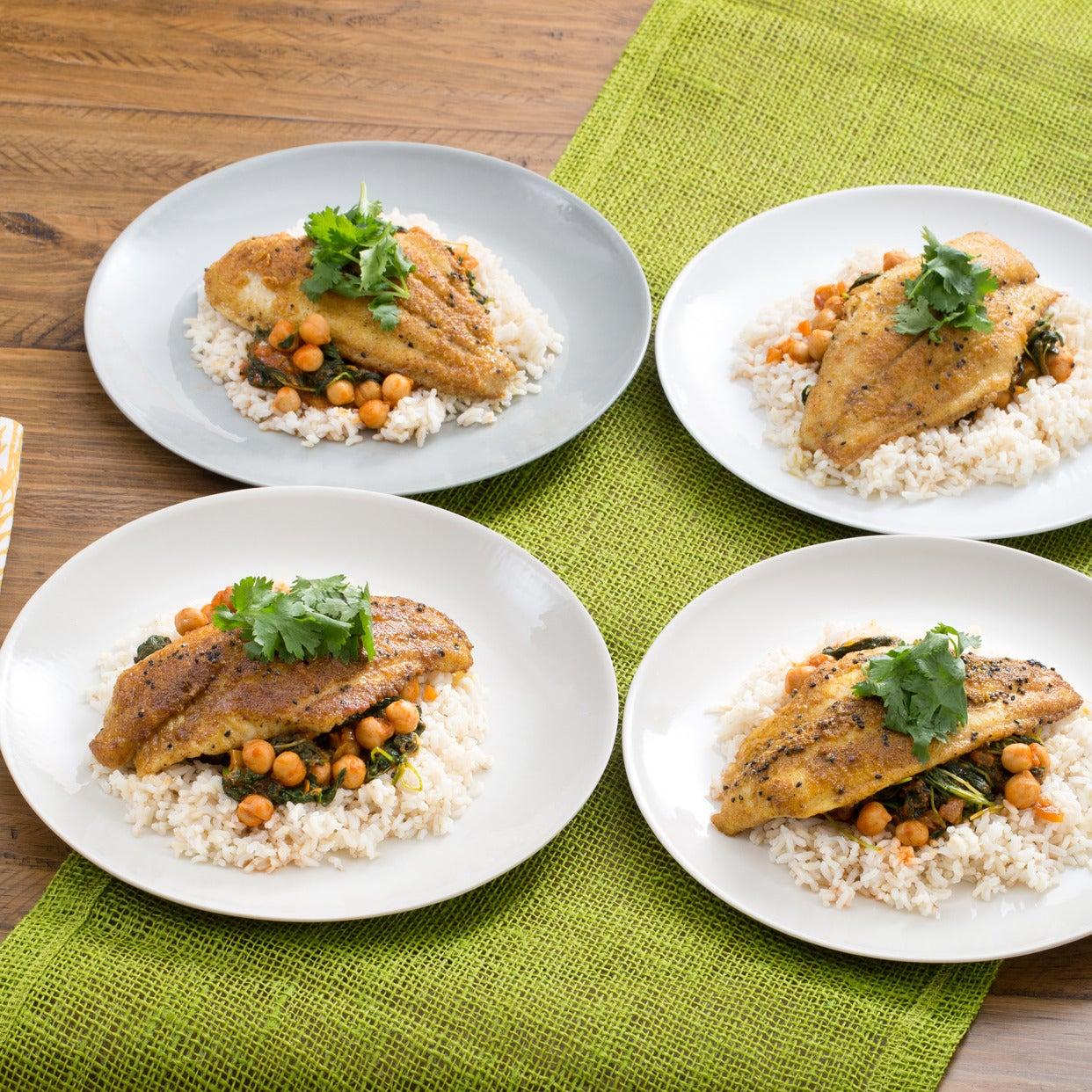 Crispy Curried Catfish with Chana Masala & Brown Rice