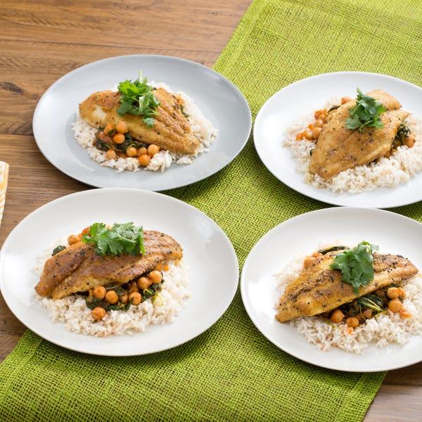 Crispy Curried Catfish with Chana Masala & Brown Rice