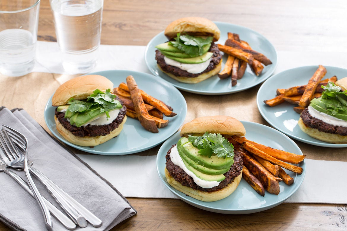 Quinoa & Black Bean Burgers with Sweet Potato Oven Fries & Garlic-Lime Sauce