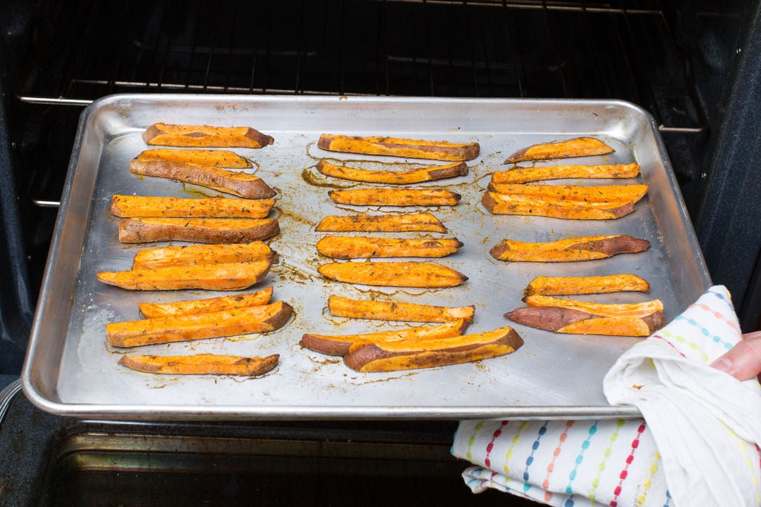 Roast the sweet potatoes: