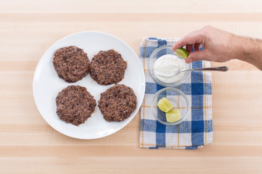 Form the burgers & make the garlic-lime sauce: