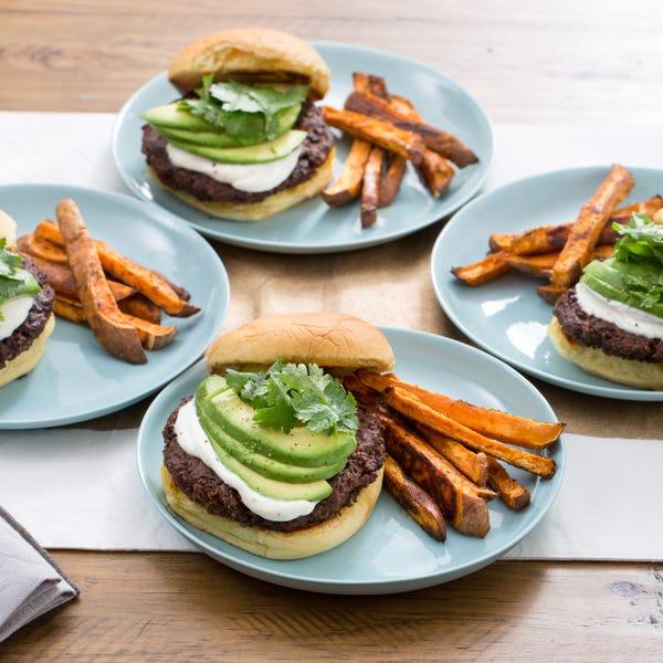 Quinoa & Black Bean Burgers with Sweet Potato Oven Fries & Garlic-Lime Sauce