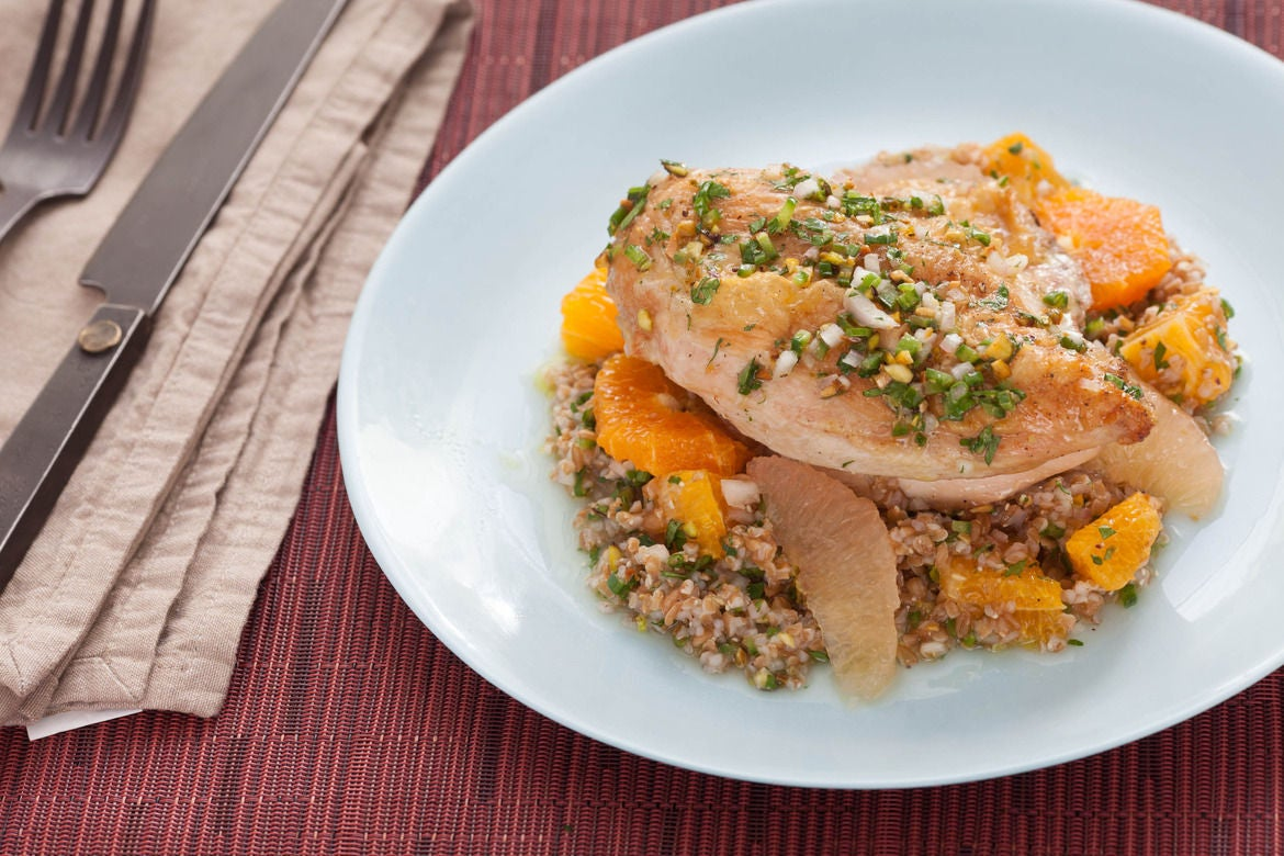 Roasted Chicken with Jalapeño-Herb Salsa, Mixed Citrus & Cracked Wheat Berries