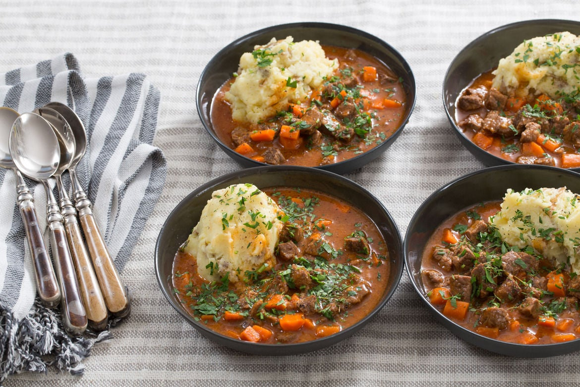 Beef Stew & Cheesy Mashed Potatoes with Carrots & Thyme