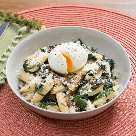 Mushroom Browned Butter Cavatelli with Lacinato Kale & Soft-Boiled Eggs