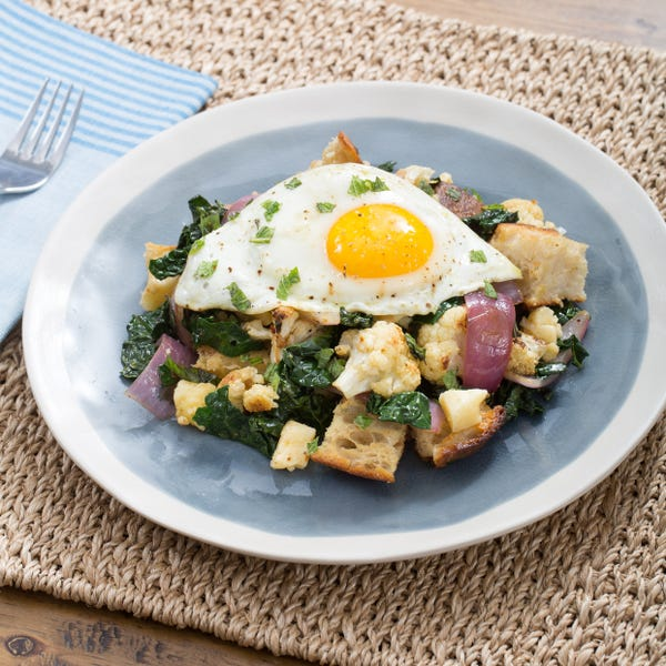 Roasted Cauliflower Salad with Homemade Garlic Croutons & Sunny-Side Up Eggs