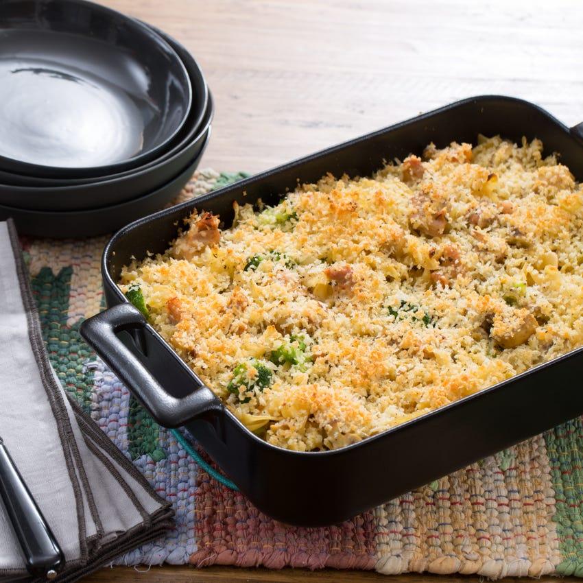 Chicken Tetrazzini with Mushrooms, Broccoli & Parmesan Breadcrumbs
