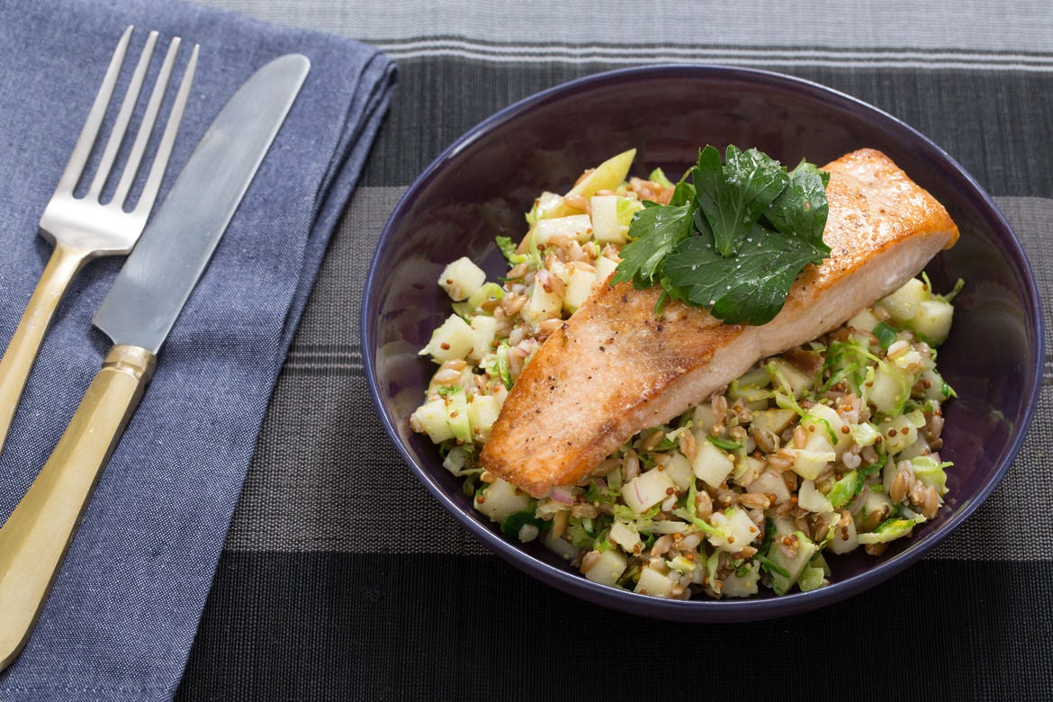 Pan-Seared Salmon & Farro Salad with Brussels Sprouts & Apple