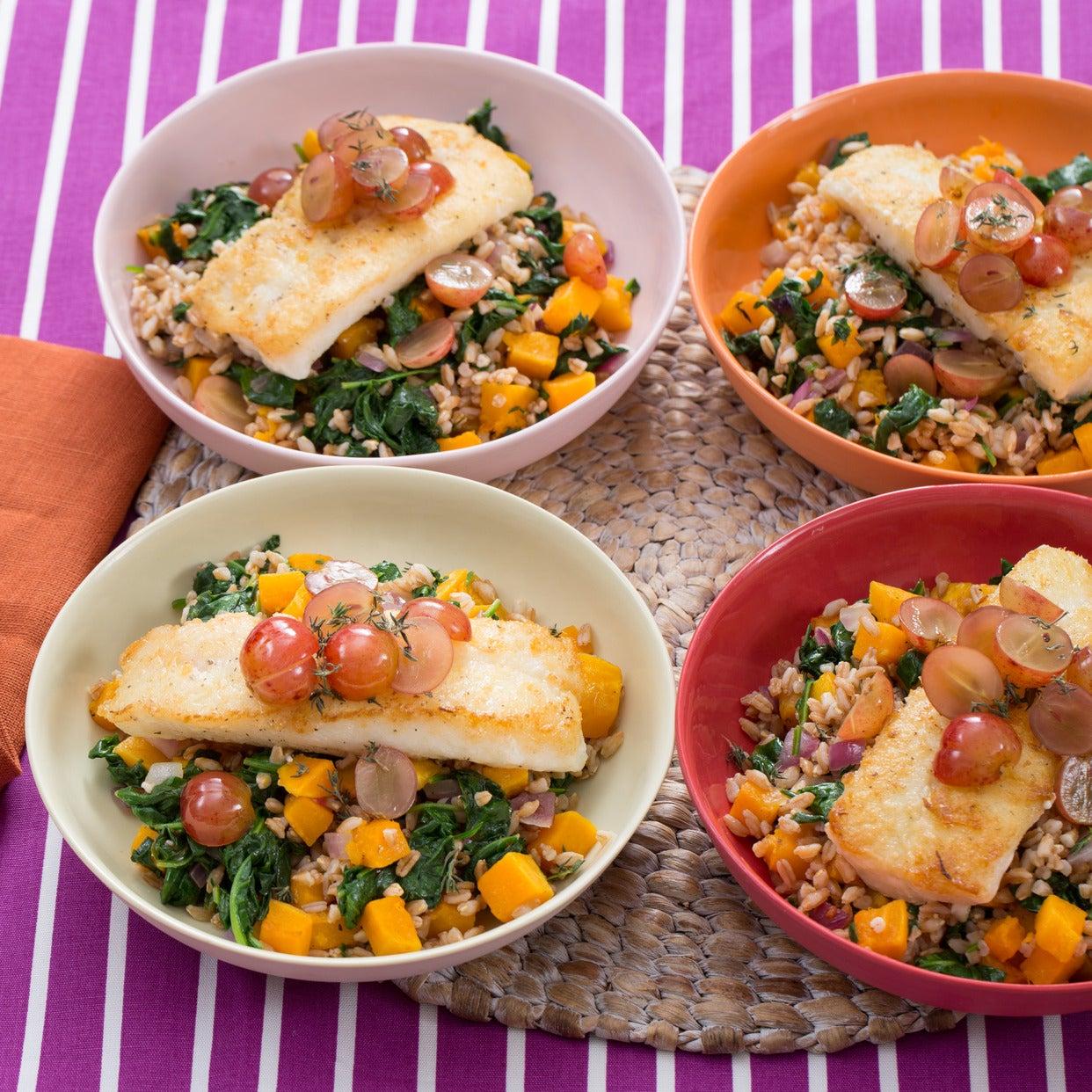 Seared Cod & Pickled Grapes with Butternut Squash & Farro Salad