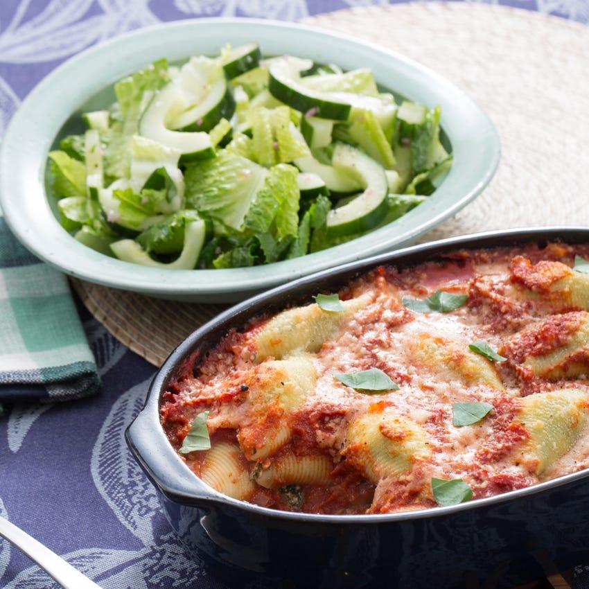 Spinach & Ricotta-Stuffed Shells with Tomato Sauce & Romaine Chopped Salad