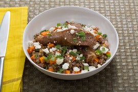 Merguez Lamb Sausages with French Lentils, Mint & Feta
