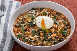 Spicy Fregola Sarda with Soft-Boiled Eggs, Fennel & Kale