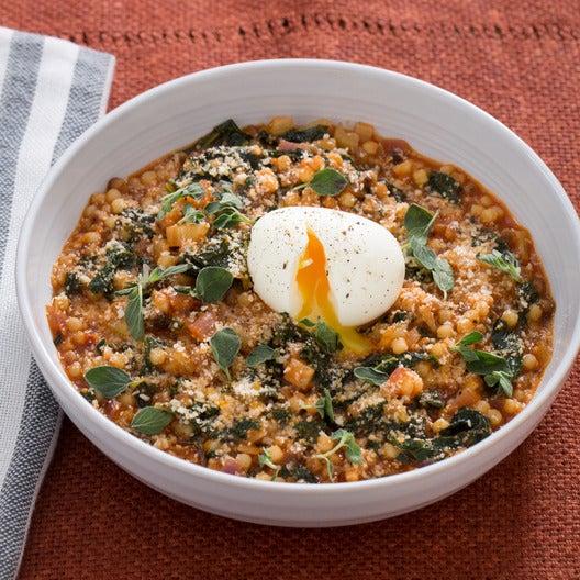 Spicy Fregola Sarda with Soft-Boiled Eggs, Fennel & Kale