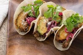 Mixed Mushroom Tacos with Crispy Avocado & Cotija Cheese