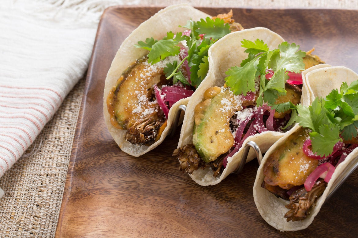 Mixed Mushroom Tacos with Crispy Avocado & Cotija Cheese